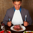 Eat a beef steak — Stock Photo #14966047