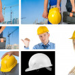 Foto Stock: Workers set