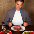 Eat a beef steak — Stock Photo #17880861
