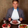 Eat a beef steak - Stockfoto