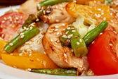 Warm salad with chicken — Stock Photo