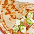 Pancakes with cheese and vegetables — Stock Photo