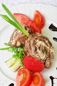Fläsk rullar med grönsaker — Stockfoto