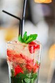 Strawberry mohito cocktail — Stock Photo