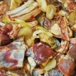 Marinated liver, kidneys, lungs meat shashlik — Stock Photo #26207003