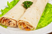 Fried chicken meat at pitta bread — Stock Photo