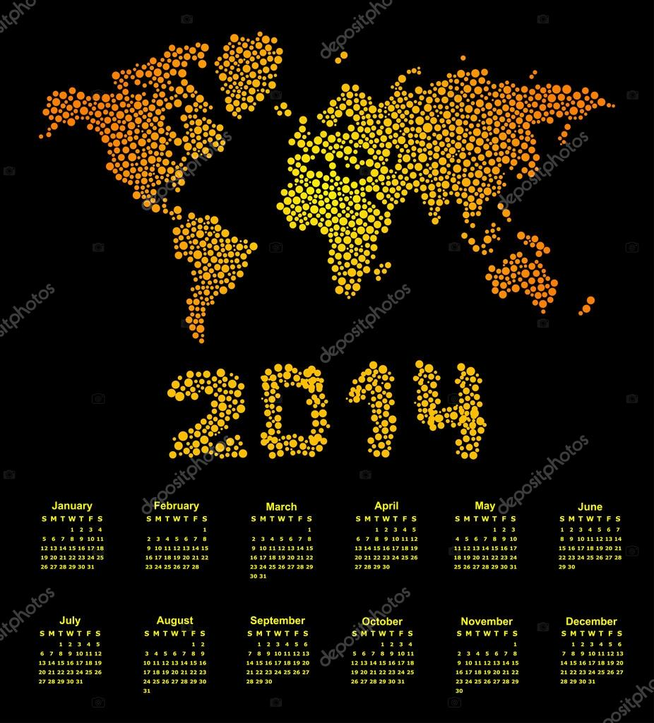 2014 calendar world map Stock Vector olinchuk 31664005
