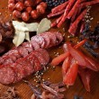 Stock Photo: Meat and sausages