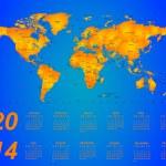 Timezone calendar 2014 — Stock Vector #32080227