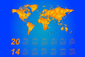 Timezone calendar 2014 — Stock Vector