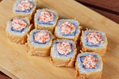 Cream cheese and tobico sushi roll — Stock Photo