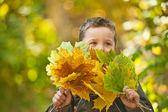 Menino outono — Foto Stock