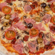 Stock Photo: Pizza with ham and mushrooms