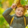 Autumn baby boy — Stock Photo