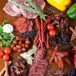 Meat and sausages — Stockfoto