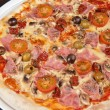 Pizza with ham and mushrooms — Stock fotografie