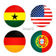 Group G -USA, Ghana, Germany, Portugal — Stock Photo #39700413