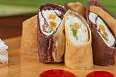 Pancake roll with marmalade — Stockfoto