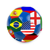 Soccer ball with brazilian flag — Stock Photo