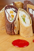 Pancake roll with marmalade — Stock fotografie