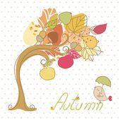 Autumn tree and little bird — Stock Photo