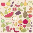 Doodle Fruits - Stock Vector