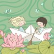 Sailing on the Lotus lake — Imagen vectorial