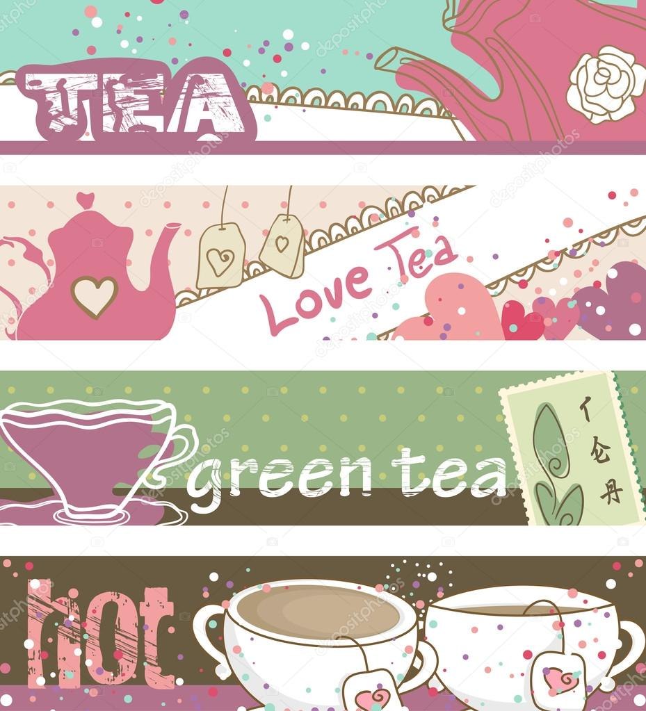 Horizontal, vintage style Tea banners  Stock Vector #16030429