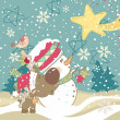 Snowman, Reindeer and Falling Star - Stock Vector