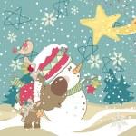 bonhomme de neige, des rennes et étoile filante — Vecteur