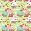 Cupcake seamless pattern — Stock Vector #16192435