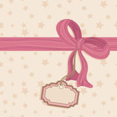 Blank tag and pink bow — Stock Vector