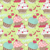 Cupcake seamless pattern — Stock Vector