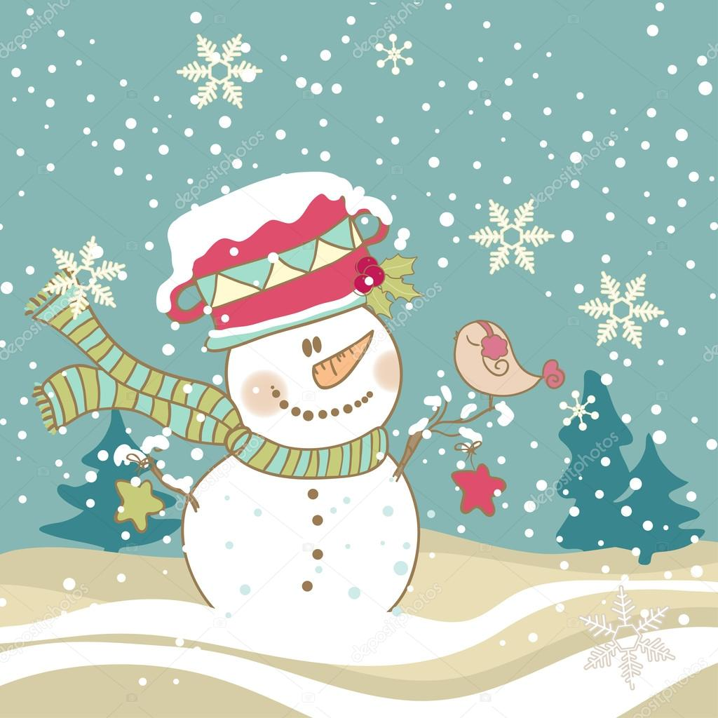 Cute Snowman with singing Bird in his hand — Grafika wektorowa #16192031