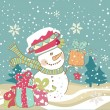 Stock Vector: Snowman with gifts