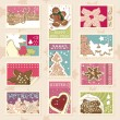 Winter cookies postage stamps - Stock Vector