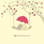 Sonbahar aşk kartı — Stok Vektör