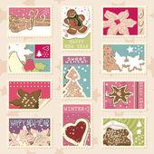 Winter cookies postage stamps — Stock Vector