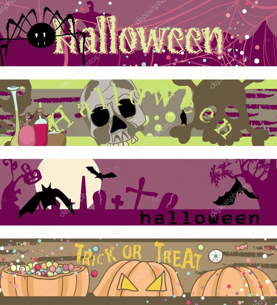 Four horizontal Halloween banners with spider, skull, bats and candies — Векторная иллюстрация #16797845