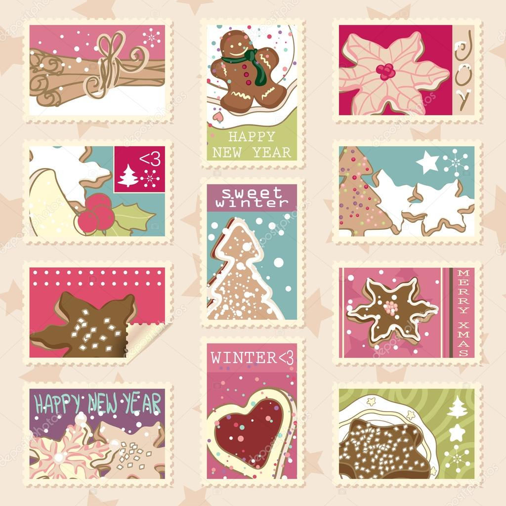 Set of winter postage stamps with various winter cookies  Stock Vector #16798169