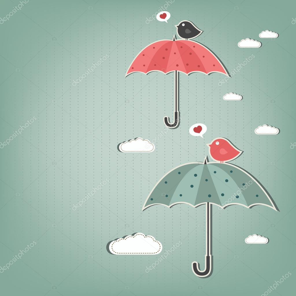 birds and umbrellas - vector illustration — Stock Vector #12458804