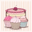 Vintage card with cupcakes - Stock Vector