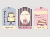 Etichette d'epoca con dolci — Vettoriale Stock