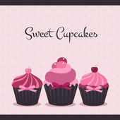 Cupcakes doces — Vetorial Stock