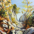 Marble path in the Autumn — Stock Photo