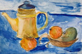 Still life with kettle and apples aquarelle — Stock Photo