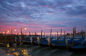 Romantic Venice Sunrise with Gondolas — Stock Photo