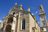 Verona Cathedral facade distant angle shot over blue sky — Stock Photo