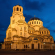 Nightshot of Cathedral Alexandar Nevsky in Sofia — Stock Photo