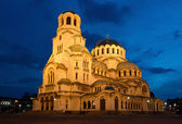 Nightshot of Cathedral Alexandar Nevsky in Sofia — ストック写真